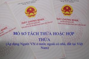 Hồ sơ tách thửa hoặc hợp thửa đất đối với người Việt Nam ở nước ngoài được sở hữu nhà ở gắn liền với quyền sử dụng đất ở Việt Nam